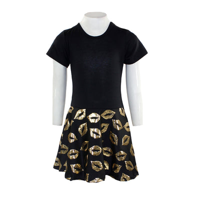 Black Dress Top with Gold Lips