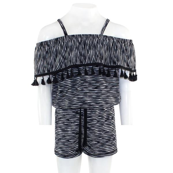 737484c724be Striped Print Romper with Tassels – Denny s