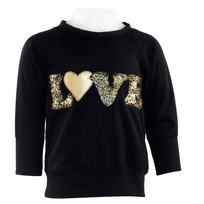 Long Sleeve Sweatshirt with Love Foil Leopard