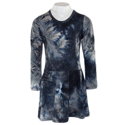 All Over Grey and Black Tye Dye Dress