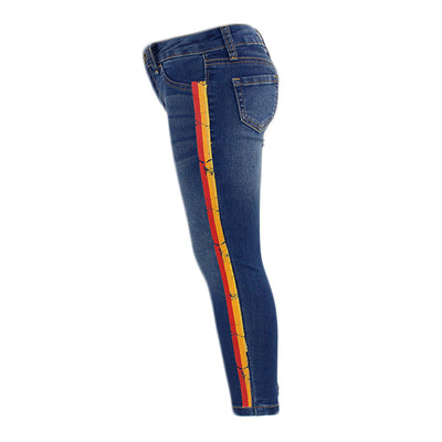 Knit Stretch Jean With Stripes Down Side