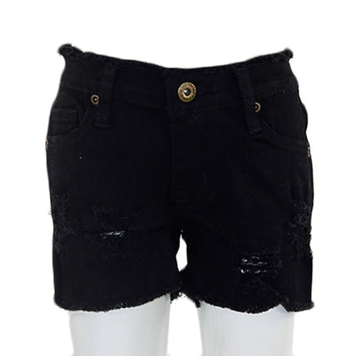 Black Short Twill with Destruction