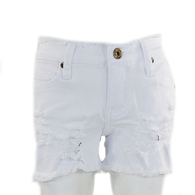 White Shorts Twill with Destruction