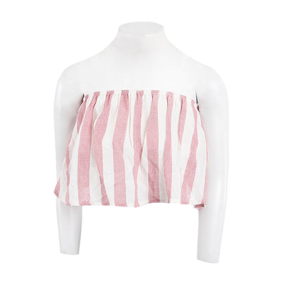 Burgandy Creme Stripe Tube Top