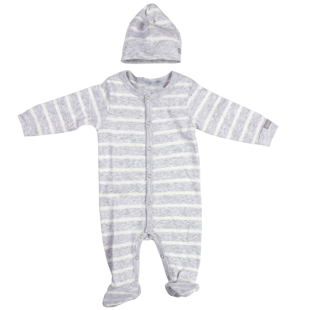 3 piece Take Home Footie Gry/Cream Stripe