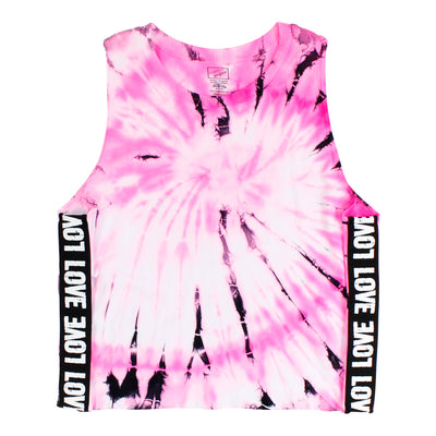 Pink White and Black Tie Dye Tank