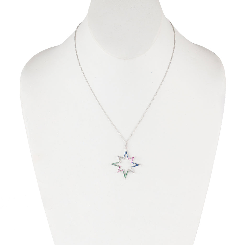 Open Star Rainbow Necklace