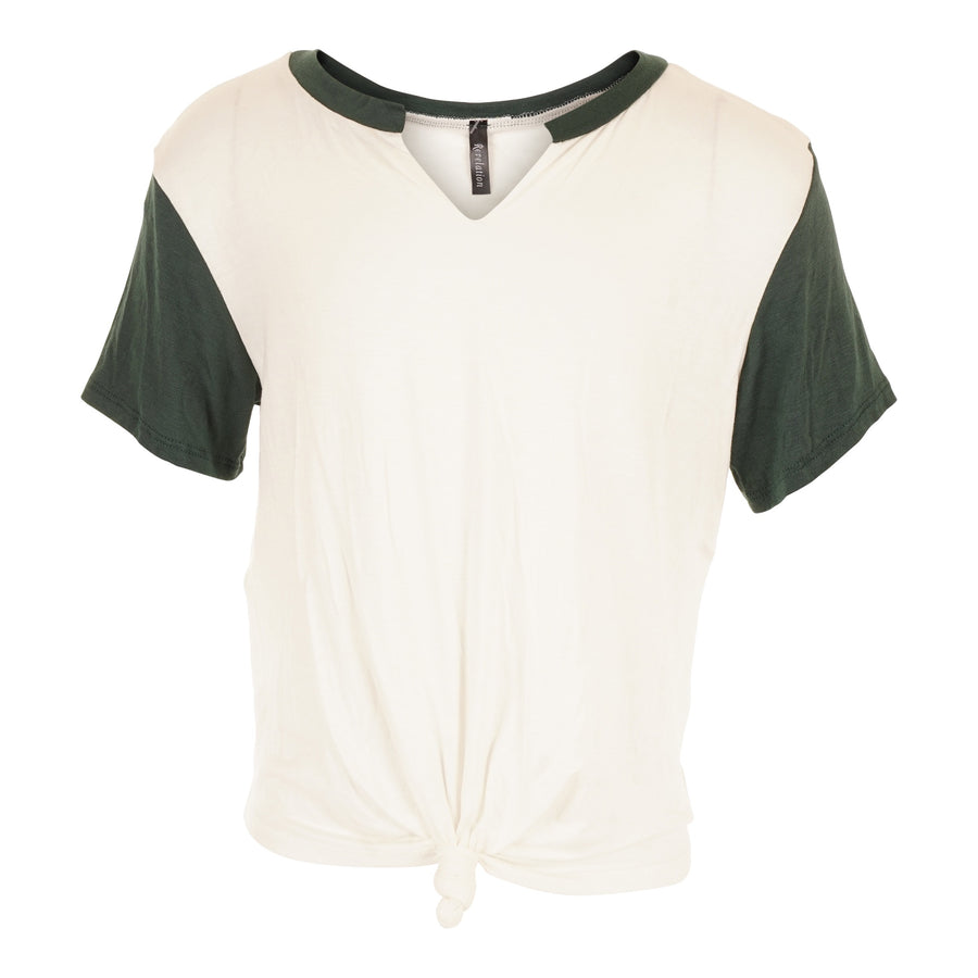 Short Sleeve Slit V Raglan with Tie