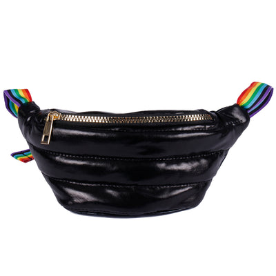 Black Irredescent Fanny Pack with Rainbow Strap