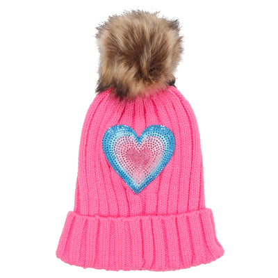 Pom Beanie Dazzle Layer Heart - Fits Sizes 7-14 & Juniors
