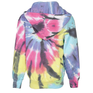 Long Sleeve Zip Hoody Bright Tie Dye with Black and Pink Swirl