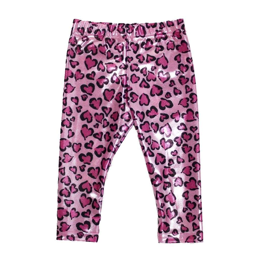 Pink Lame Heart Legging - Dori Creations