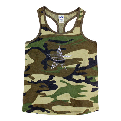 Racerback Tank with Clear Stone Star