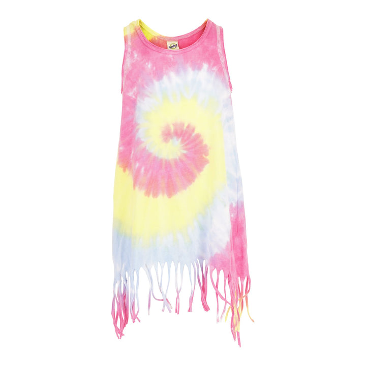 Fringe Tank Dress Pastel Tie Dye