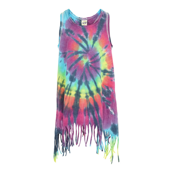 Fringe Tank Dress with Primary Tie Dye