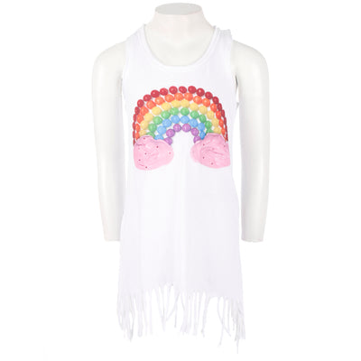 Jersey Fringe Dress with Rainbow Candy