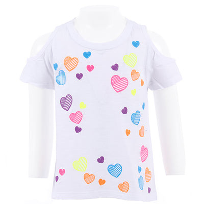 Short Sleeve Cold Shoulder Top with Neon Hearts