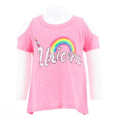 Short Sleeve Cold Shoulder Top with Rainbow Unicorn