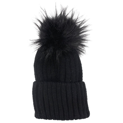 Faux Fur Pom Hat - Fits Sizes 7-14