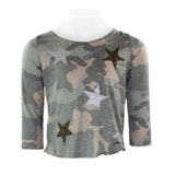 3/4 Sleeve Camo Top w Glitter Gold/Slv Stars All Over
