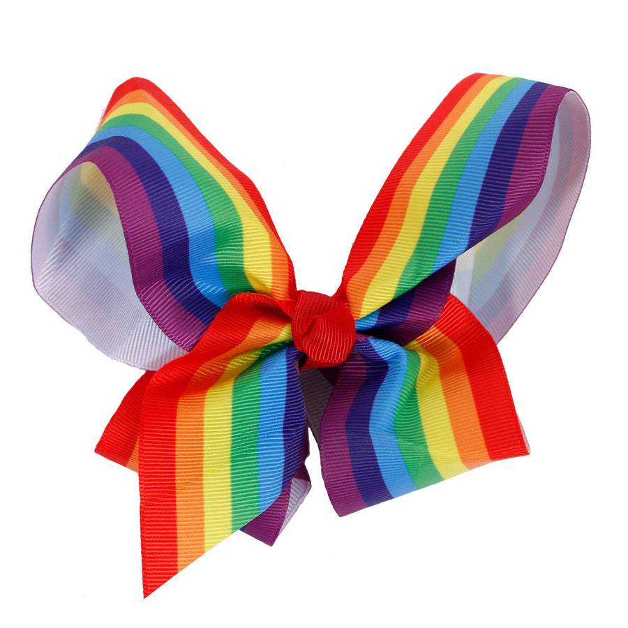 Rainbow Stripe Clip Bow