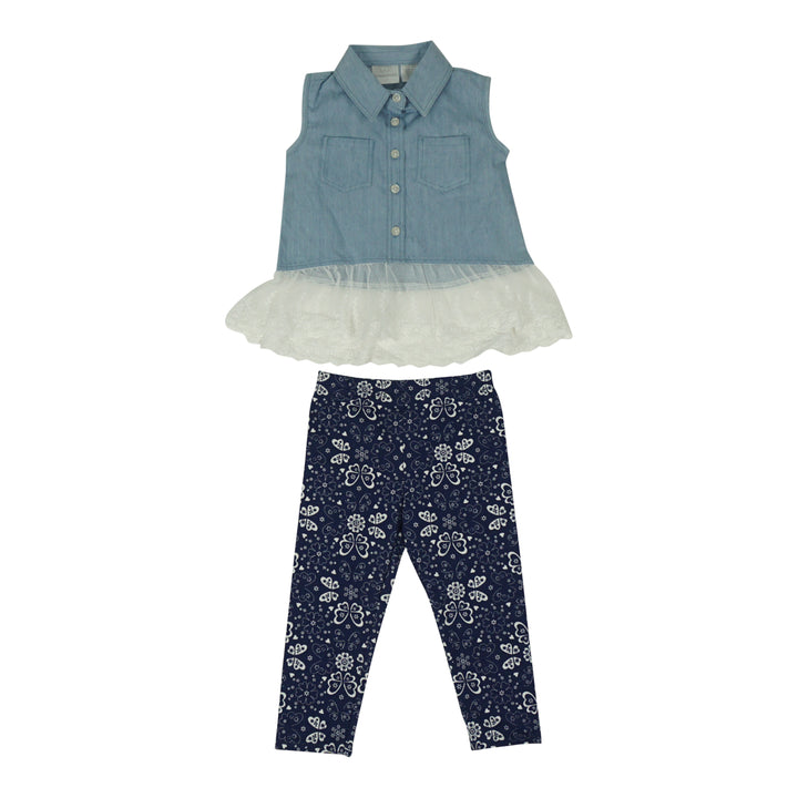 2 Piece Denim Top and Legging Set