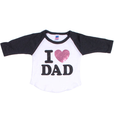 Raglan with I Heart Dad Pink Foil Heart