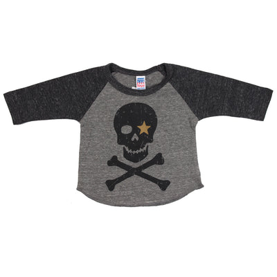 Raglan Grey Black Skull