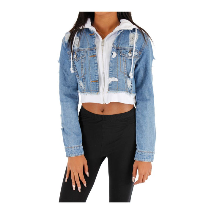 Crop Denim Jacket with Hood