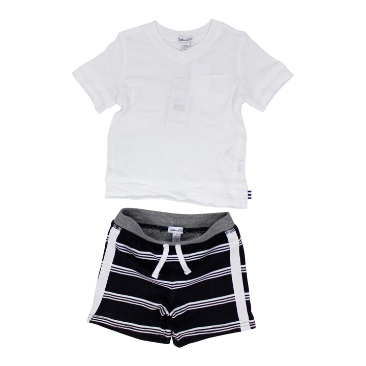 2pc Solid Tee & Striped Short Set