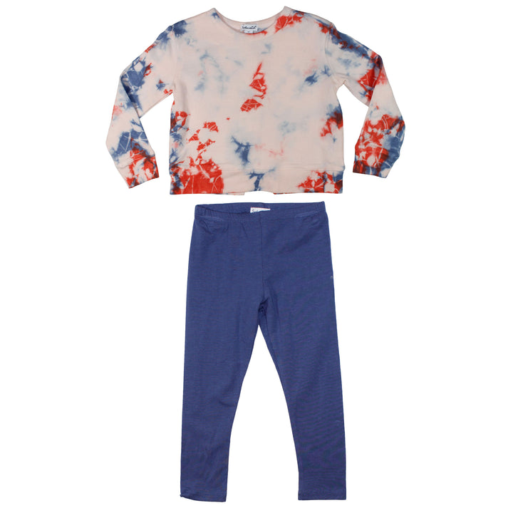 2pc Tie Dye Top n Navy Legging Set