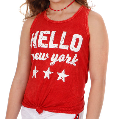 Mineral Wash Knot Tank with Hello New York Stars