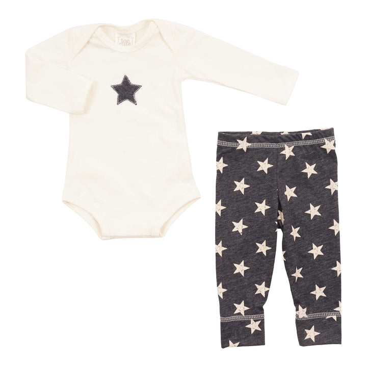 2pc Onsie with Navy Star & Navy Pant with White Stars Set