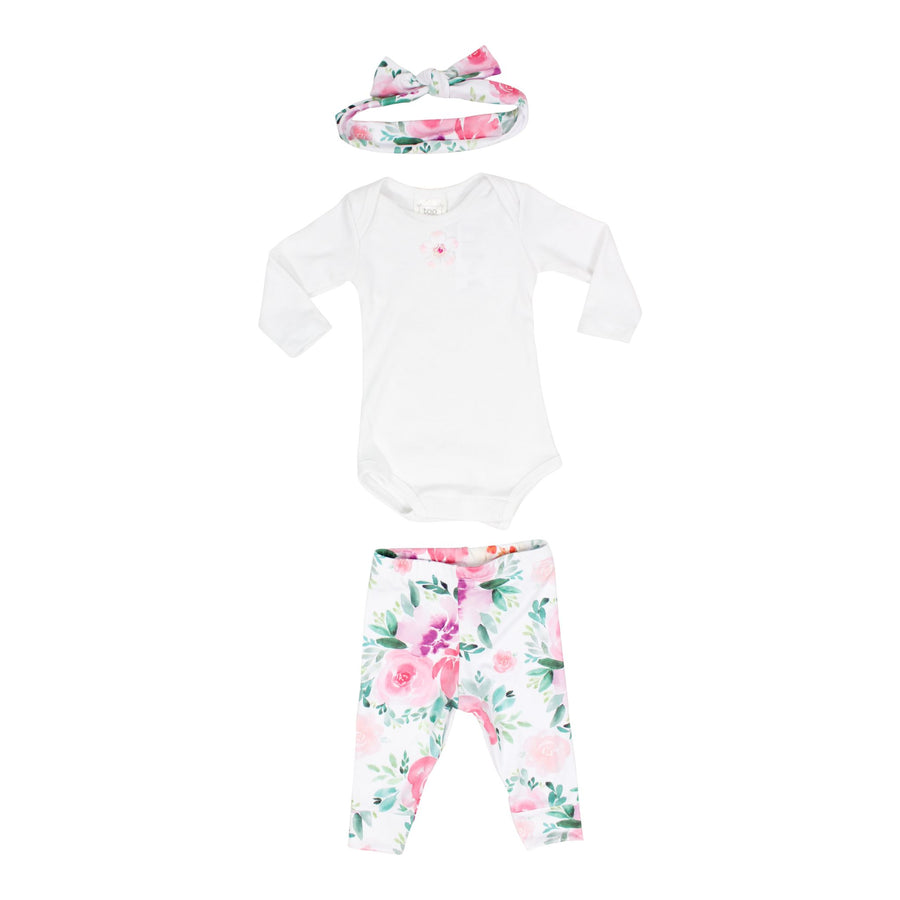 3pc Take Me Home Onesie Pant Headband Soft Floral