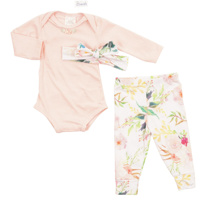 3pc Spring Floral Onesie Pant & Headband Take Home Set