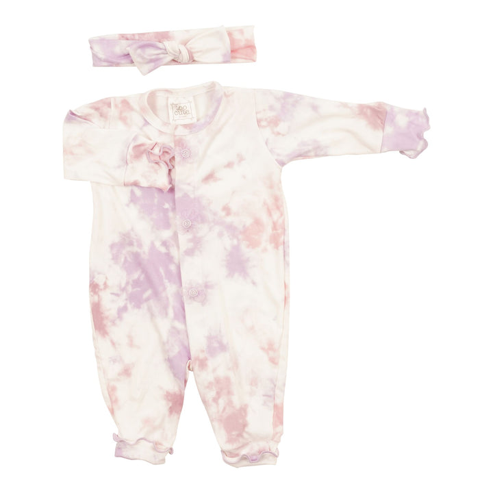 2pc Union Suit with Headband Blush Lavender Tie Dye