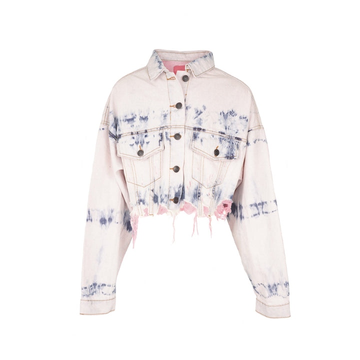 Tie Dye Crop Denim Jacket