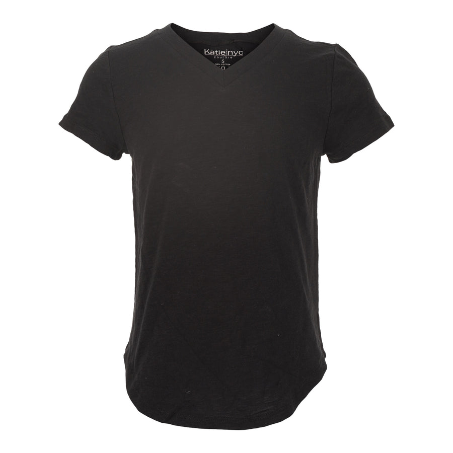 Short Sleeve V-Neck Tee with Tie Waist