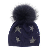 Star Hat Tipped Fur Crystal Tone On Tone - Fits Sizes 7-14