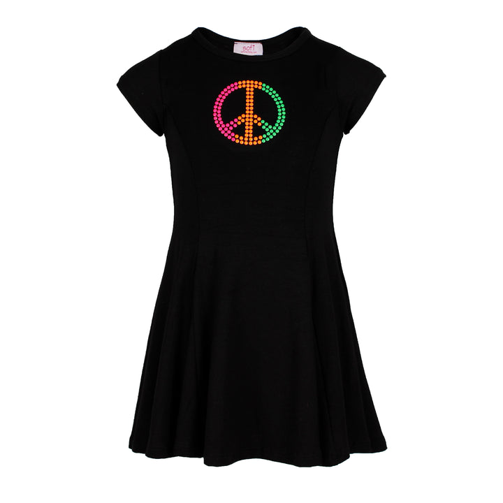 Short Sleeve Pleated Dress w Peace Neon Solid