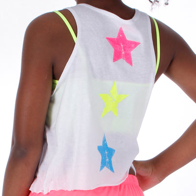 Crop Tank with Neon Stars