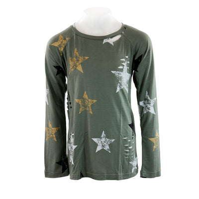 Long Sleeve Top Distressed All Over Star