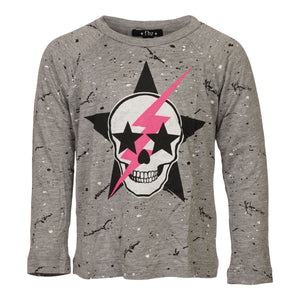 Star Skull and Bolt Long Sleeve Top