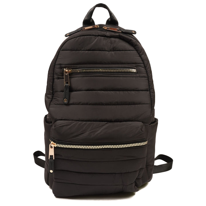 Black Puffer Backpack with Gold Zippers