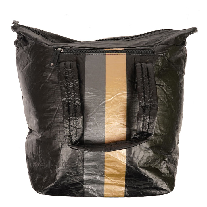 Large Puffer Tote with Crinkled Nylon Metallic Stripe