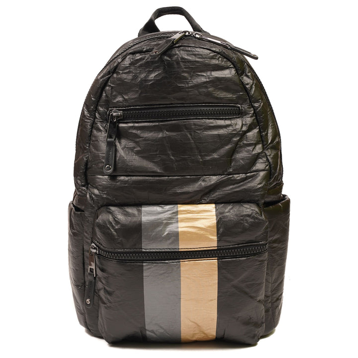 Crinkled Puffer Backpack with Metallic Stripe
