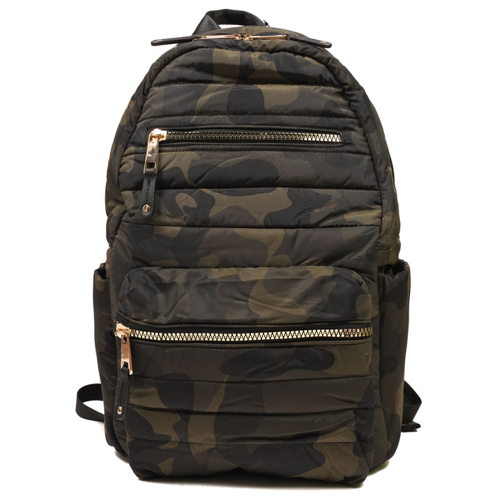 Camo Backpack with Gold Zippers