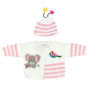 Pink Elephant Sweater and Hat
