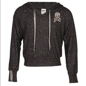 Skull Hoodie with SIlver Stripes