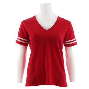 Sporty Slub Short Sleeve V